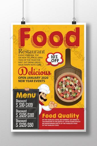plantilla de cartel de comida rápida de restaurante retro Modelo PSD