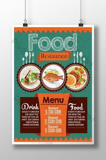 plantillas de carteles de promoción de comida retro Modelo PSD