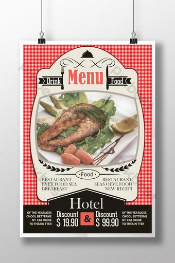 diseño de carteles de comida de restaurante retro Modelo PSD