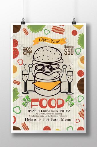 plantilla de cartel de menú de restaurante retro Modelo PSD