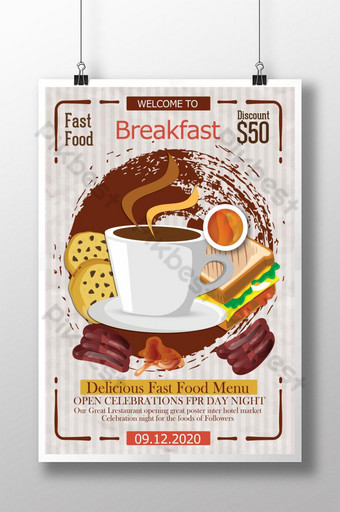 plantilla de diseño de cartel de desayuno de comida retro Modelo PSD