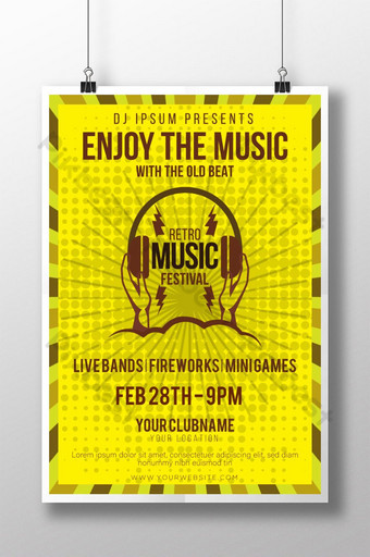 Plantilla de cartel de festival de música retro vintage amarillo para diseñador antiguo Modelo AI