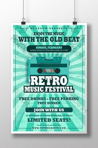 Plantilla de cartel de estilo antiguo para concierto de festival de música retro Modelo AI