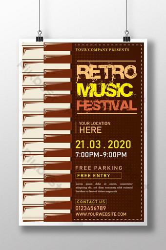 diseño de plantilla de cartel de festival de música retro creativo y único Modelo AI