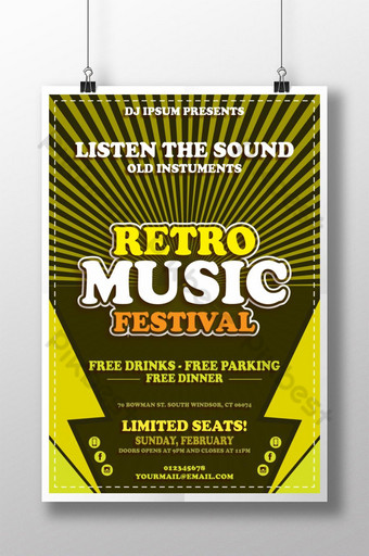 Plantilla de cartel de festival de música retro abstracta para club de música Modelo AI