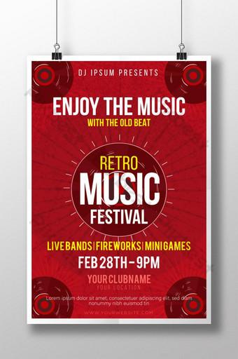plantilla de cartel de festival de música retro creativa y moderna Modelo AI