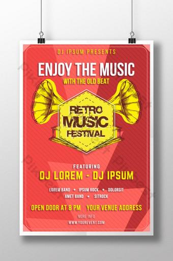 Plantilla colorida del cartel del festival de música retro del vintage para los diseñadores Modelo AI