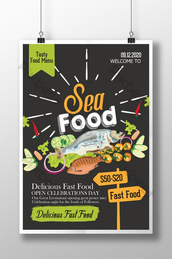 plantilla de cartel de comida de mar de pizarra retro Modelo PSD