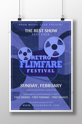 diseño de plantilla de cartel de festival de premio de cine retro creativo Modelo AI