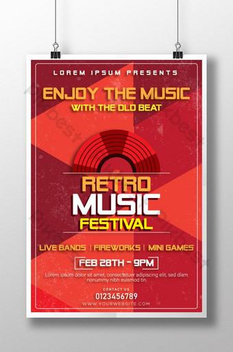 plantilla de cartel de festival de música retro rojo para diseñadores Modelo AI