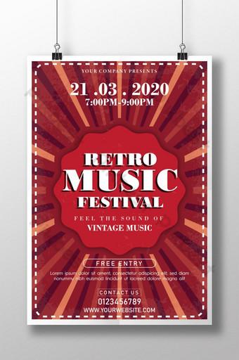 Plantilla de cartel de festival de música retro única creativa para club vintage Modelo AI