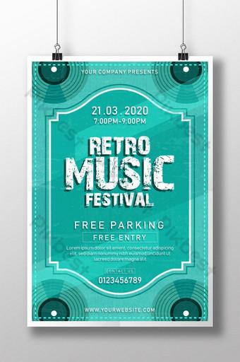 plantilla de cartel de festival de música retro antiguo para club de música y gestión de fiestas Modelo AI