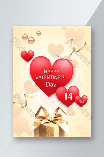 Carte de Saint-Valentin pop élégante Modèle PSD