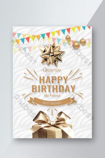 Carte d'anniversaire pop élégante Modèle PSD