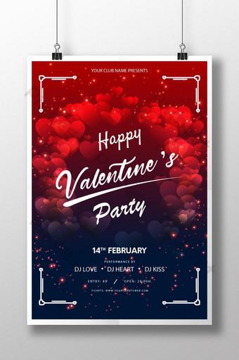 cartaz da festa do dia dos namorados com formato de amor vermelho e azul Modelo AI