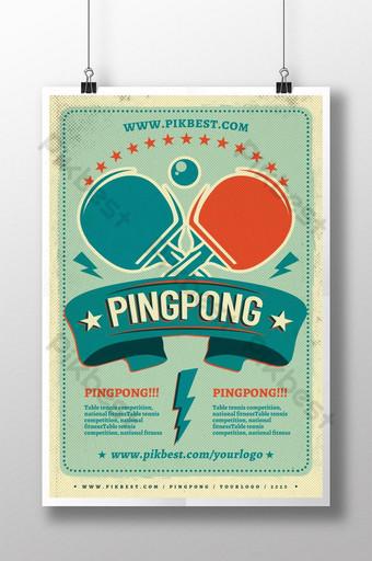 diseño de cartel de deporte retro de tenis de mesa Modelo PSD