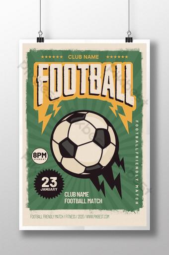 diseño de cartel de deportes verde retro de fútbol Modelo PSD
