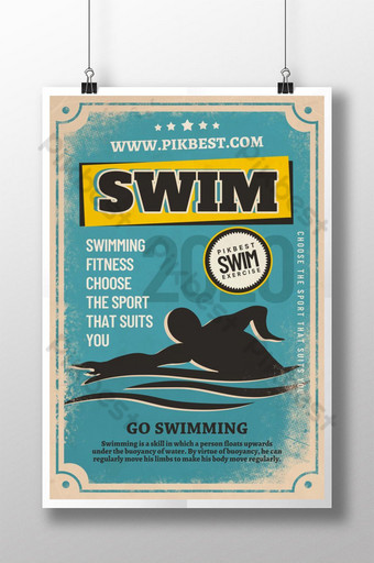 diseño de cartel de deportes retro de fitness de natación Modelo PSD
