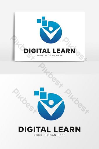 resumen digital aprender pixel humano empresa logo icono diseño elementos gráficos plantilla ai Elementos graficos Modelo AI