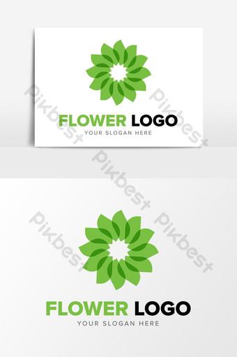 flor verde espiral logo diseño elementos gráficos plantilla ai Elementos graficos Modelo AI