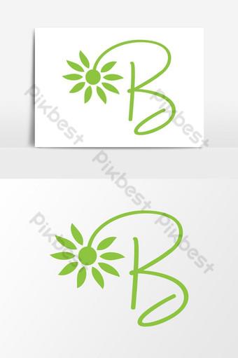 Letra b inicial simple belleza moda vientre flor logo diseño elementos gráficos plantilla Elementos graficos Modelo AI