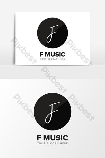 Letra f inicial plantilla de elementos gráficos de diseño de logotipo de música abstracta ai Elementos graficos Modelo AI