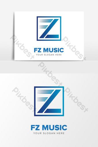 Letra fz plantilla de elementos gráficos de diseño de logotipo de música abstracta inicial ai Elementos graficos Modelo AI