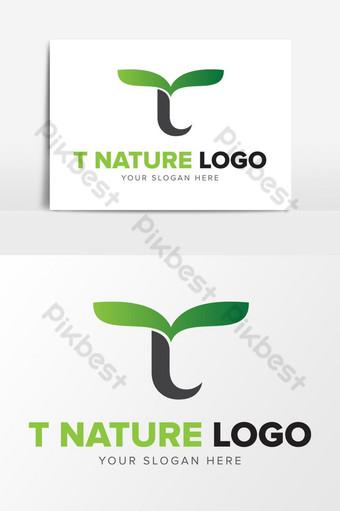 Letra t inicial naturaleza hoja resumen logo diseño elementos gráficos plantilla ai Elementos graficos Modelo AI