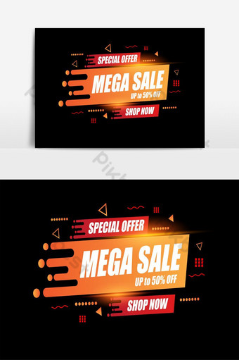 Conception abstraite de modèle de vente Mega pour offres spéciales, ventes et réductions Publicité Éléments graphiques Modèle AI