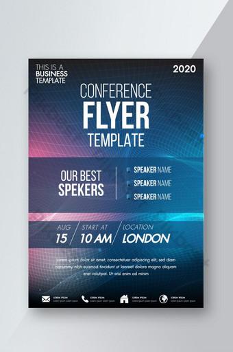 Brochure design flyer template technologie conférence formes géométriques conception mise en page annua Modèle AI
