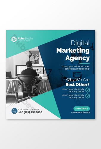 banner de redes sociales de marketing de negocios digitales o plantilla de volante cuadrado vector premium Modelo EPS