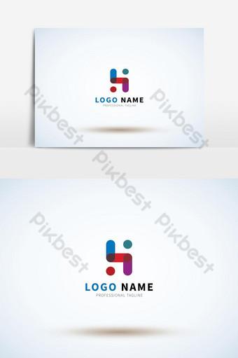 gaya font modern logo huruf h berwarna-warni untuk identitas pribadi dan perusahaan Elemen Grafis Templat AI