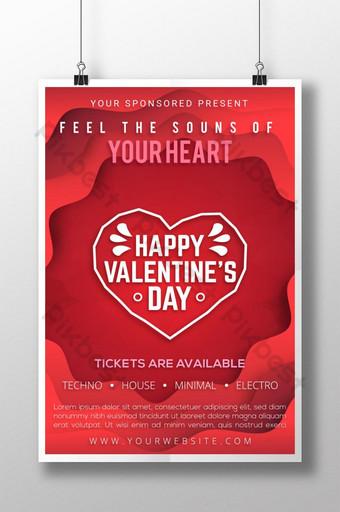 현대적이고 독특한 Papercut 스타일 발렌타인 데이 축하 포스터 템플릿 AI