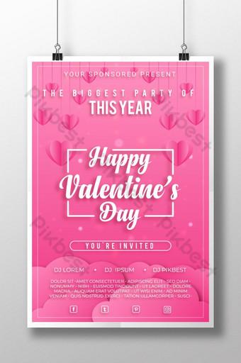 현대적이고 창조적 인 Papercut 스타일 발렌타인 데이 포스터 템플릿 AI
