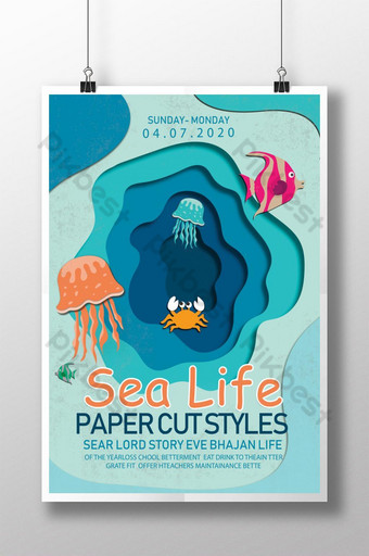 Paper Cut Style Sea Life Poster Template PSD