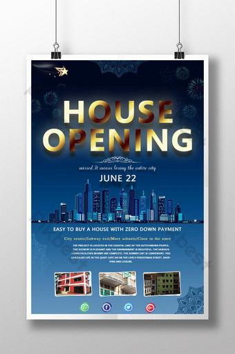 Poster ng promosyon ng klasikong asul na real estate Template PSD