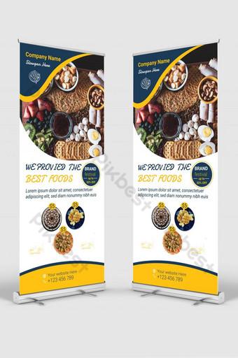 señalización standee comida y restaurante roll up banner diseño de plantilla Modelo AI