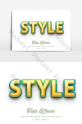 Effet de style de texte de style 3d psd Éléments graphiques Modèle PSD