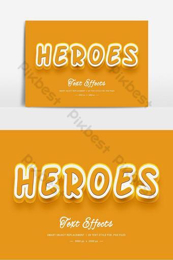 Effet de style de texte 3D Heroes PSD Éléments graphiques Modèle PSD