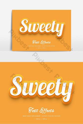 Effet de style de texte 3D Sweety PSD Éléments graphiques Modèle PSD