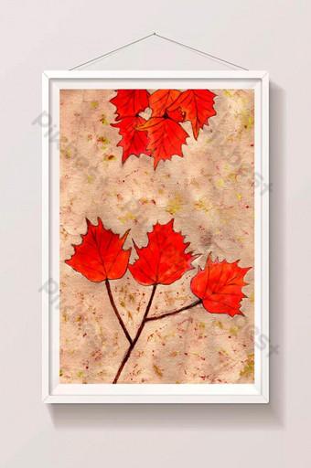 increíbles hojas rojas y pintura a mano de fondo muy colorido Ilustración Modelo AI