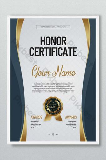 Certyfikat honorowy niebieski Szablon PSD