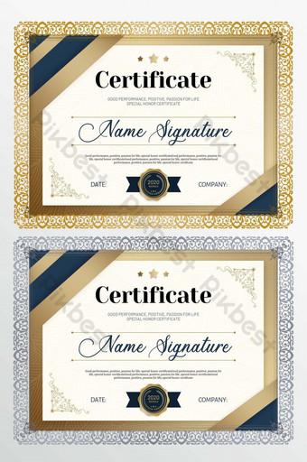 Certyfikat honorowy ze złotą obwódką gradientu Szablon PSD