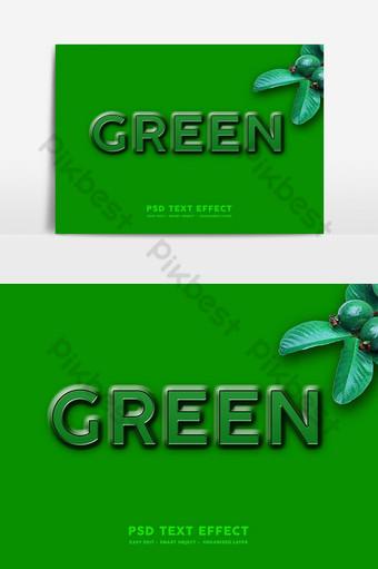 efecto de texto 3d verde con fondo verde maqueta de efectos de texto psd premium psd Elementos graficos Modelo PSD