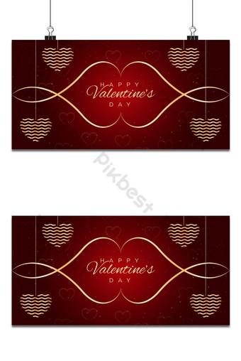feliz día de san valentín diseño de fondo con corazones rojos colgantes Fondos Modelo AI