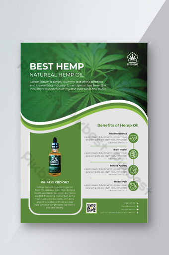 Modèle de conception de flyer de vente de produit de chanvre vert ou modèle de dépliant de cannabis Modèle AI