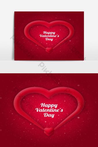 Carte postale de voeux joyeux saint valentin avec coeur Éléments graphiques Modèle PSD