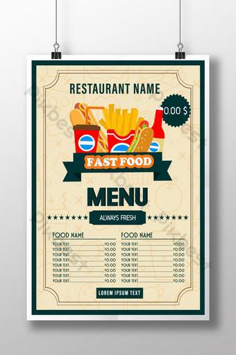 projekt plakatu menu kreatywnych restauracji wektor żywności Szablon EPS