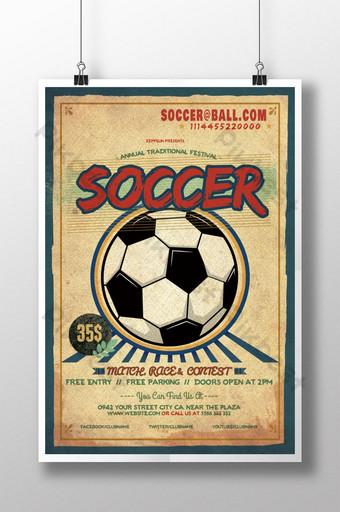 diseño de cartel de deportes retro de fútbol Modelo PSD