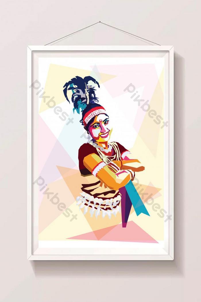 部落或原住民女孩的波普藝術風格矢量圖